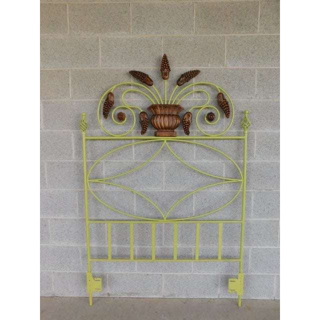 Metal Country French Style Wrought Iron Paint Decorated Twin Headboard For Sale - Image 7 of 7