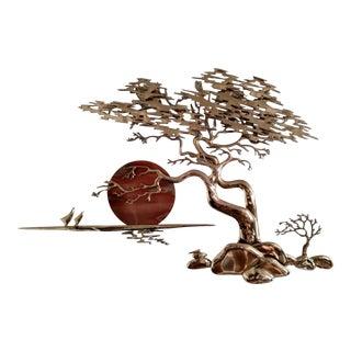 1980s Brutalist Bijan Solid Cast Brass Bonsai Tree Wall Sculpture For Sale