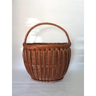 Vintage Woven Wicker Shopping Basket With Handle Preview