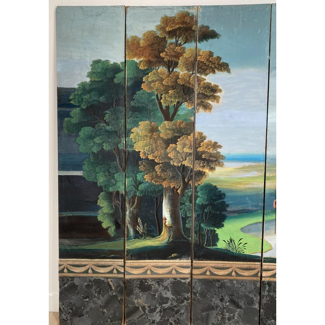 A French woodblock wallpaper that has been mounted on a screen depicting an ancient Roman scene, circa 1810. Restoration...