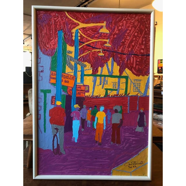 """Dan Bissell Sep 83"" Colorful Street Scene Oil on Canvas, Signed For Sale - Image 11 of 11"