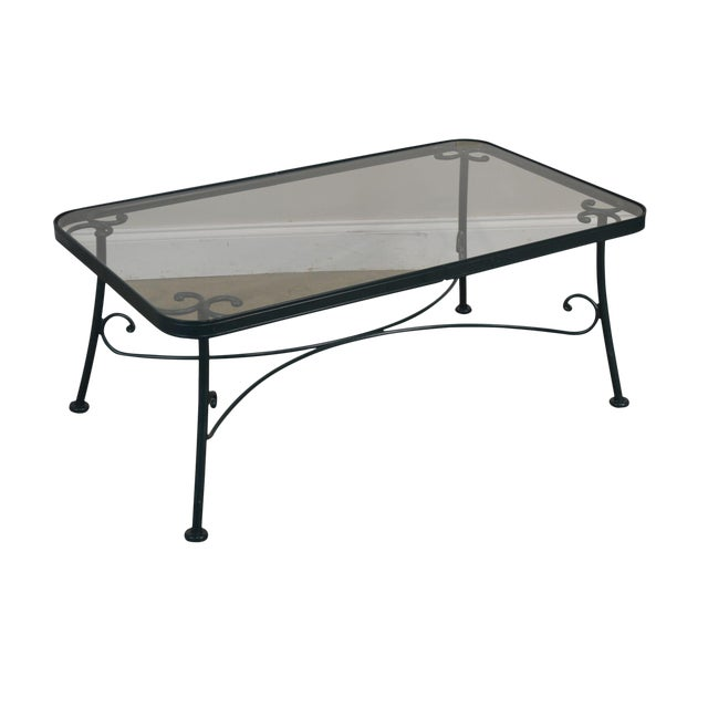 Woodard Green Wrought Iron Glass Top Patio Coffee Table