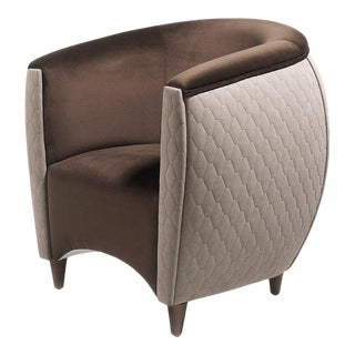Vison & Chocolate Upholstered Armchair with Walnut Frame by Jacobo Ventura For Sale