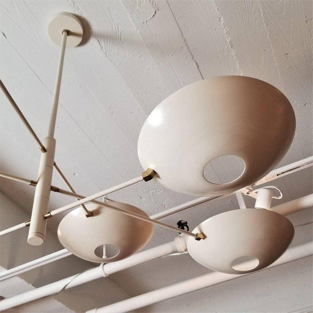 Contemporary Large 'Counterbalance' Chandelier in White Enamel + Brass by Blueprint Lighting For Sale - Image 3 of 11