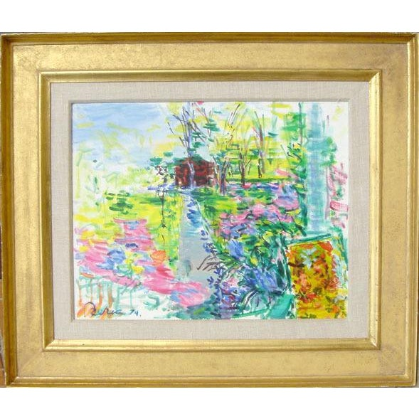 Impressionism Dimitrie Berea, Our House and Garden, Smithtown, 1974 For Sale - Image 3 of 3