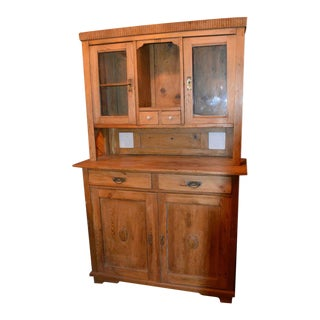 1900 Rustic Solid Shabby Washed Pine 2 Piece Cabinet Cupboard with Hutch For Sale