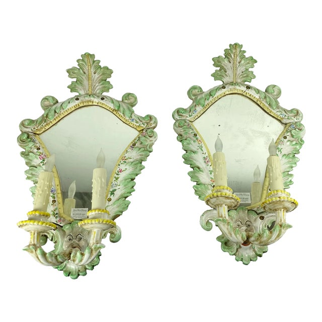 19th Century Italian Porcelain Sconces With Faces - a Pair For Sale
