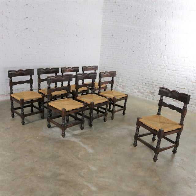 Spanish Colonial Style Dining Chairs With Rush Seats Stamped Hecho en Mexico For Sale - Image 6 of 13