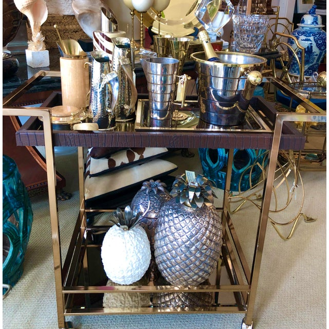Mid Century Bar Cart, Leather Wrapped Tray With Smoked Mirror For Sale - Image 12 of 13