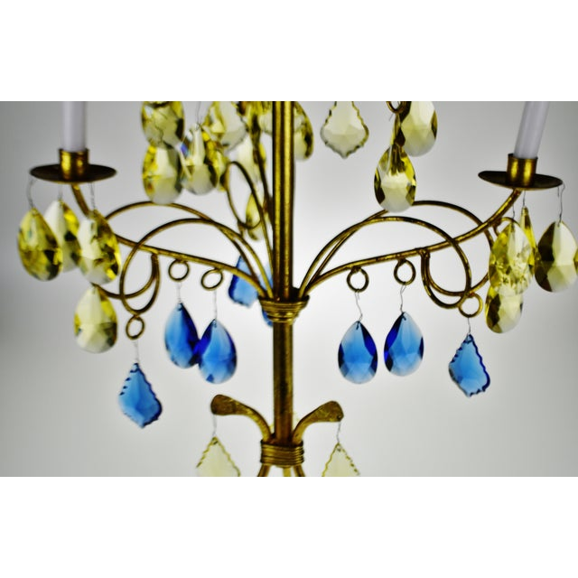 Vintage Italian Tole Gold Gilt Candelabra With Multi - Colored Cut Glass Prisms For Sale - Image 11 of 13