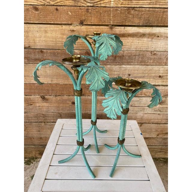 Hollywood Regency Verdigris and Brass Palm Leaf Candle Holders - Set of 3 For Sale - Image 6 of 12