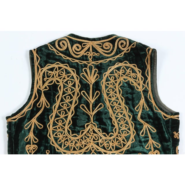 Authentic Ottoman Turkish Vest in Green Velvet For Sale - Image 4 of 9