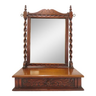 Vintage Spanish Cared Barley Twist Dresser or Table Top Cheval Mirror For Sale