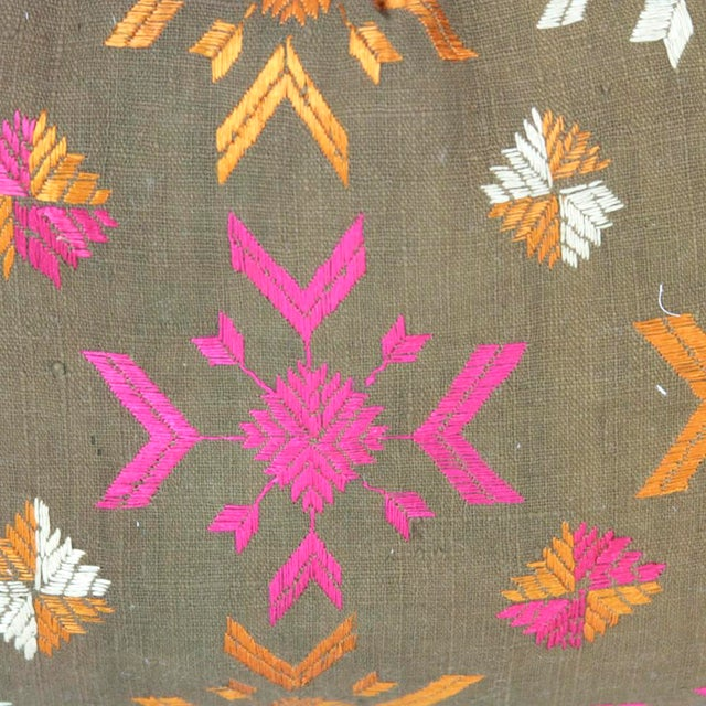 Vintage Lumbar Bagh Phulkari Pillow - Image 4 of 4