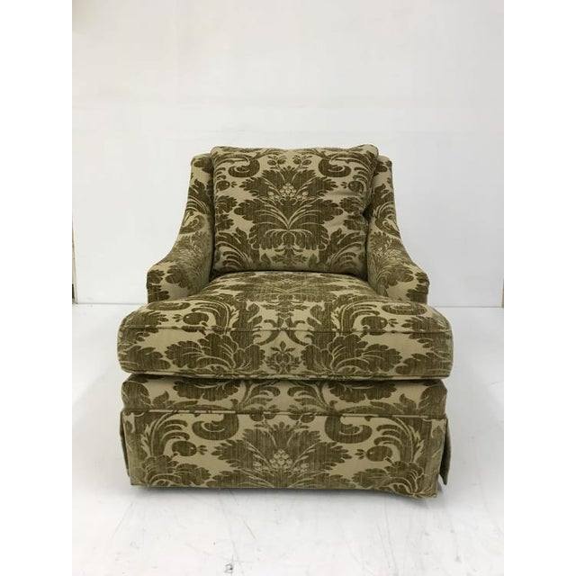 The Portola Skirted Chair is a first quality showroom sample that features a patterned fabric with a Kick Pleat skirt. It...