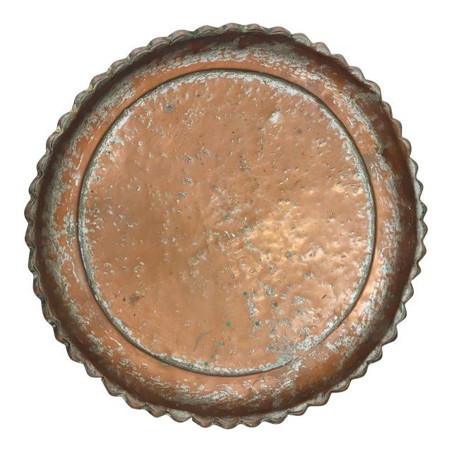 Antique Turkish Pounded Copper Platter For Sale