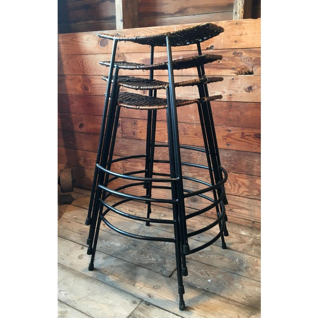 1970s Arthur Umanoff Wrought Iron & Wicker Counter Height Bar Stools - Set of 4 For Sale - Image 5 of 11