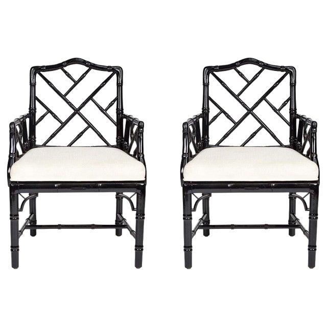 Jonathan Adler Black Lacquered Faux Bamboo Chippendale Chairs, Pair For Sale