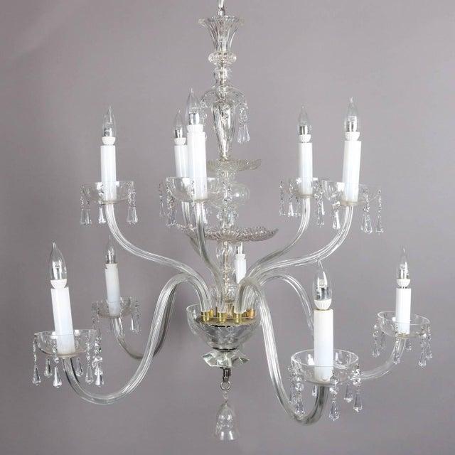 Glass Oversized European Ten-Light Crystal Chandelier, 20th Century For Sale - Image 7 of 11