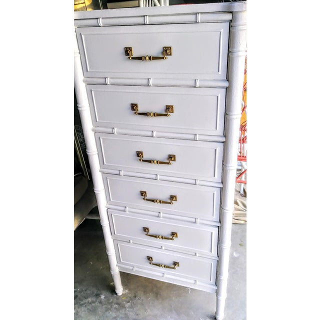 Henry Link Vintage Henry Link Bali Hai Palm Beach Regency White High Gloss Tall Lingere Dresser Chest For Sale - Image 4 of 9