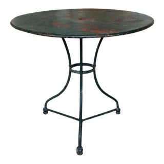 French Early 20th C Green Painted Garden Table