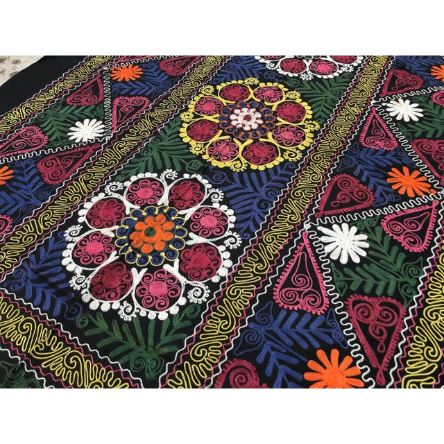Vintage Suzani Boho Flower Design Bedspread / Wall Hanging For Sale In Los Angeles - Image 6 of 7