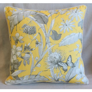 "Designer English Floral & Nature Linen/Velvet Feather & Down Pillow 24"" Square Preview"