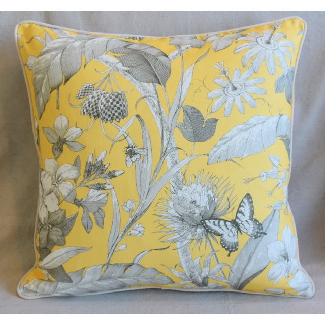 Large custom-tailored pillow in unused English printed linen fabric depicting a beautiful floral design with butterflies...