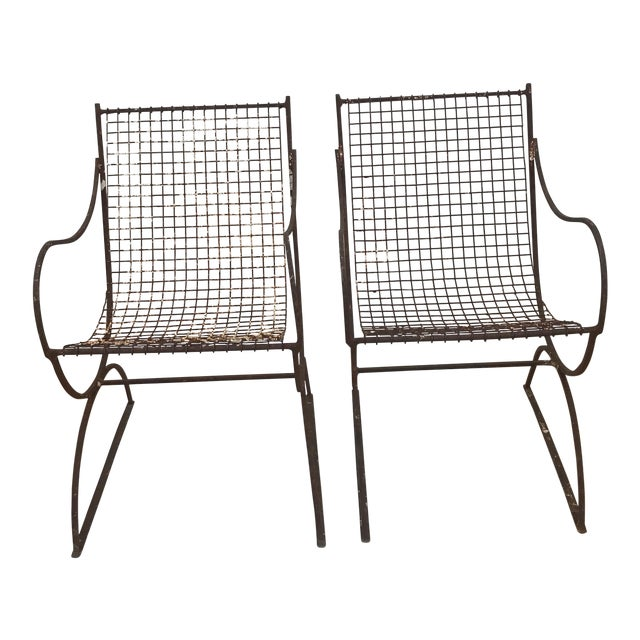 woodard style italian metal mesh sling chairs a pair chairish
