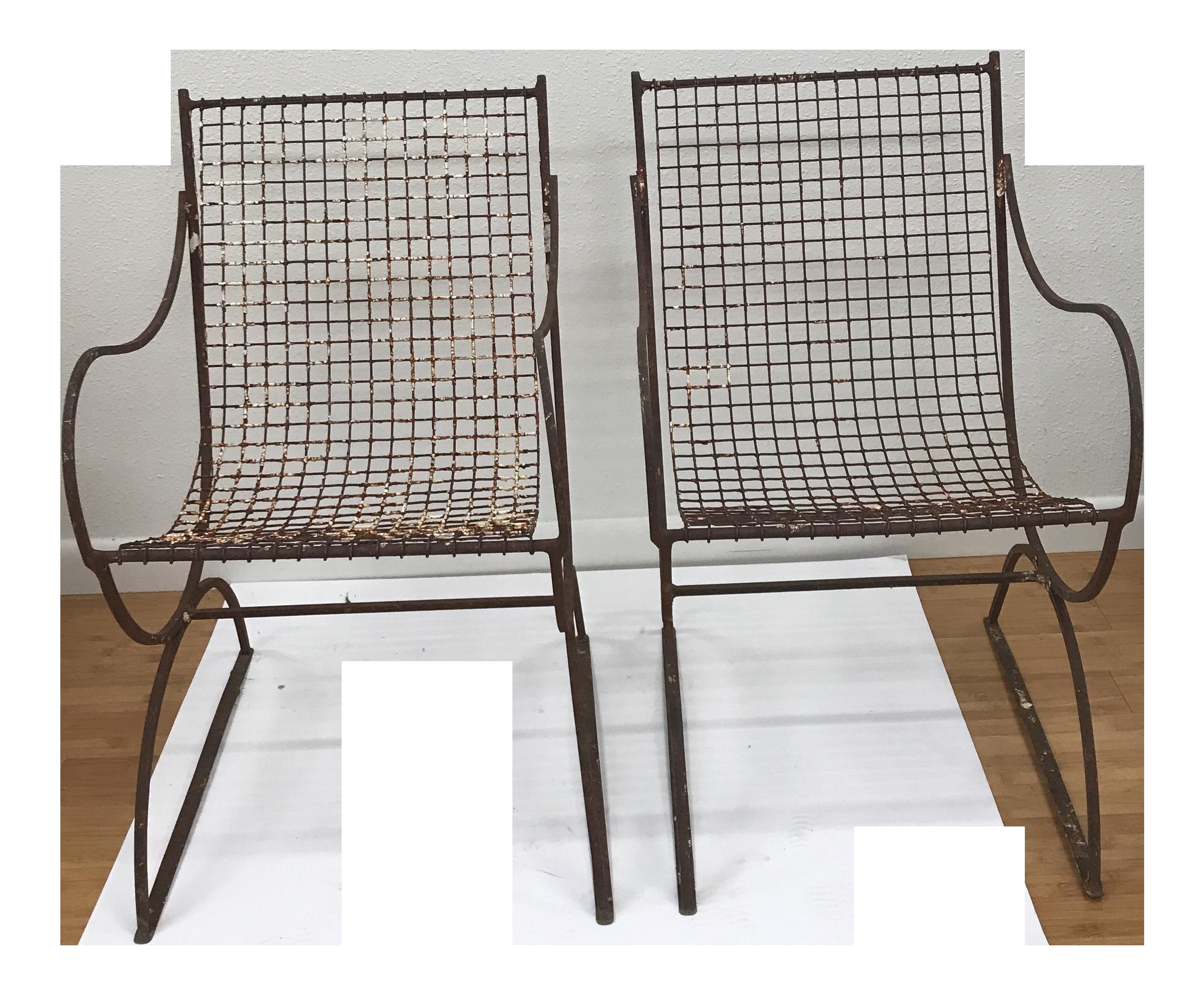 Woodard Style Italian Metal Mesh Sling Chairs   A Pair