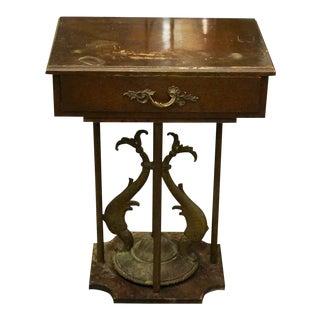 20th Century Art Nouveau Wooden & Bronze Side Pedestal Table For Sale