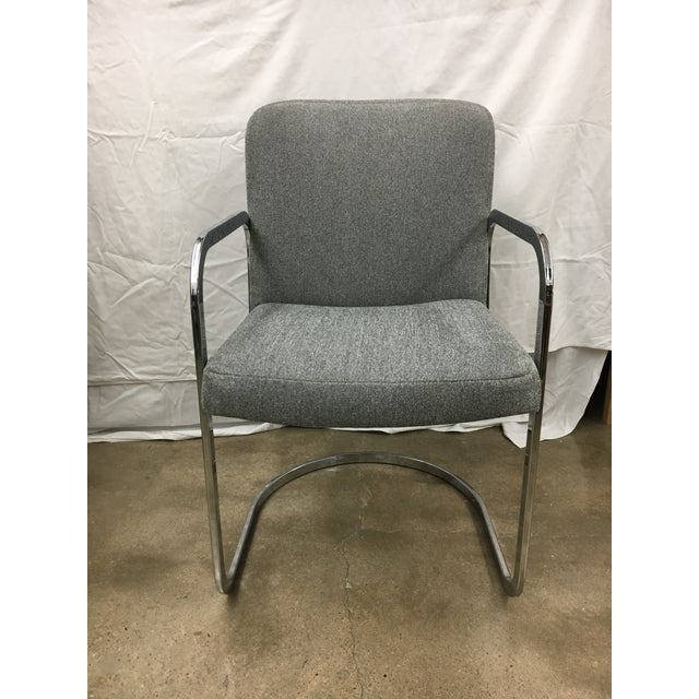 Mid-Century Modern Grey Chrome Chairs - A Pair For Sale - Image 3 of 5