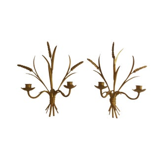 Vintage Italian Florentine Gold Gilded Wheatgrass Candle Holder Wall Sconces - a Pair
