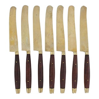 1960s Teak Handled Bronze Knives, S/7 For Sale