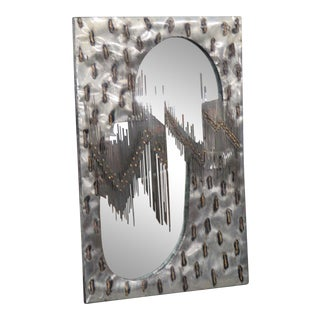 Industrial Mid-Century Modern Wall Mirror For Sale
