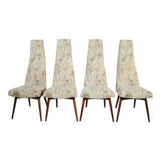 1960s Vintage Adrian Pearsall for Craft Associates High Back Dining Chairs - Set of 4 For Sale