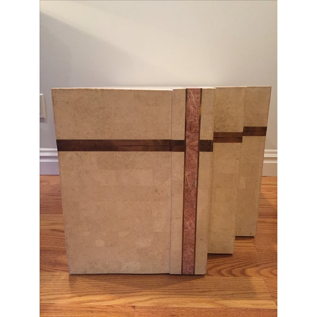 Contemporary Maitland Smith Tessellated Stone & Brass Trunk For Sale - Image 3 of 10