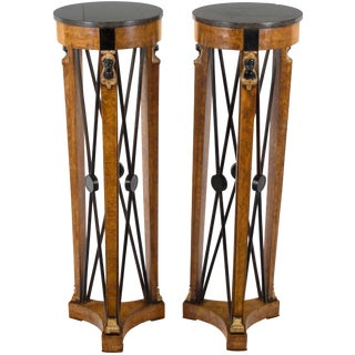Neoclassical Style Marble Top Pedestals Plant Stands - a Pair For Sale