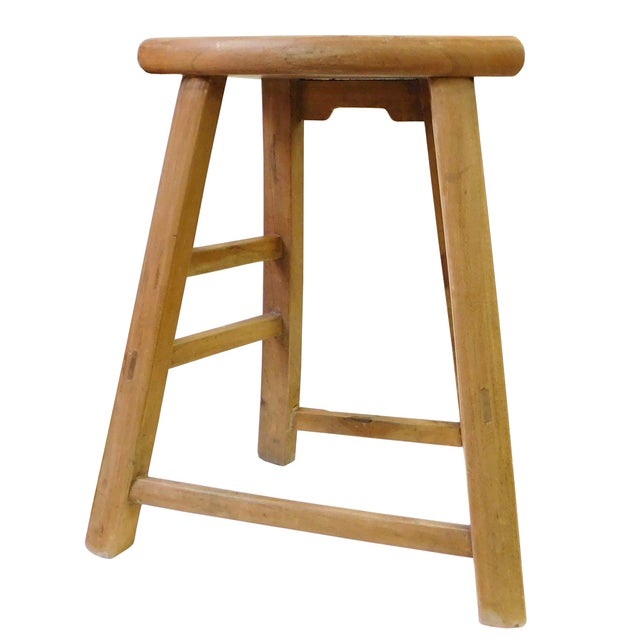 Chinese Rustic Raw Wood Accent Sitting Stool For Sale In San Francisco - Image 6 of 8