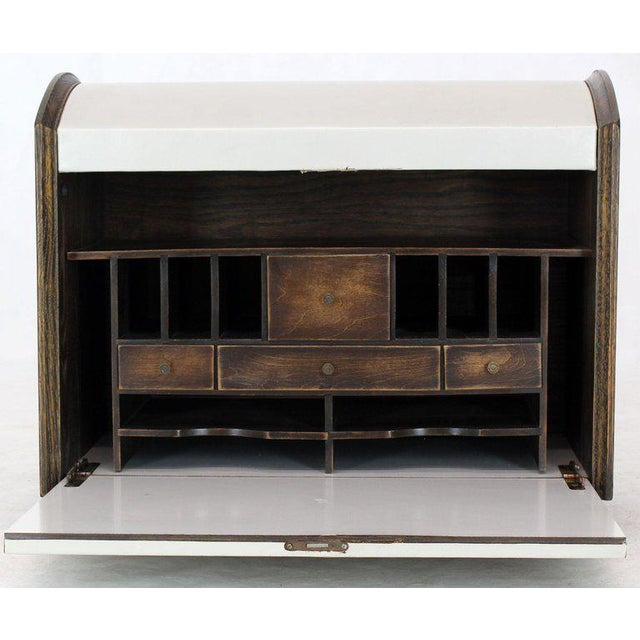 Cerused Carved Scallop Oak Leather Wrapped Campaign Portable Secretary Desk For Sale - Image 4 of 13