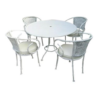 Iron Bamboo Palm Beach Regency Patio Table and 4 Chairs For Sale
