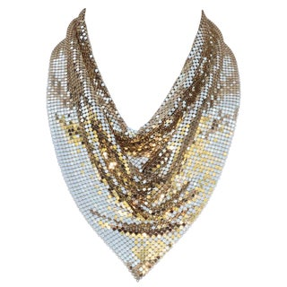Disco Glam 1970's Whiting & Davis Gold Chain Mail Bib Necklace For Sale