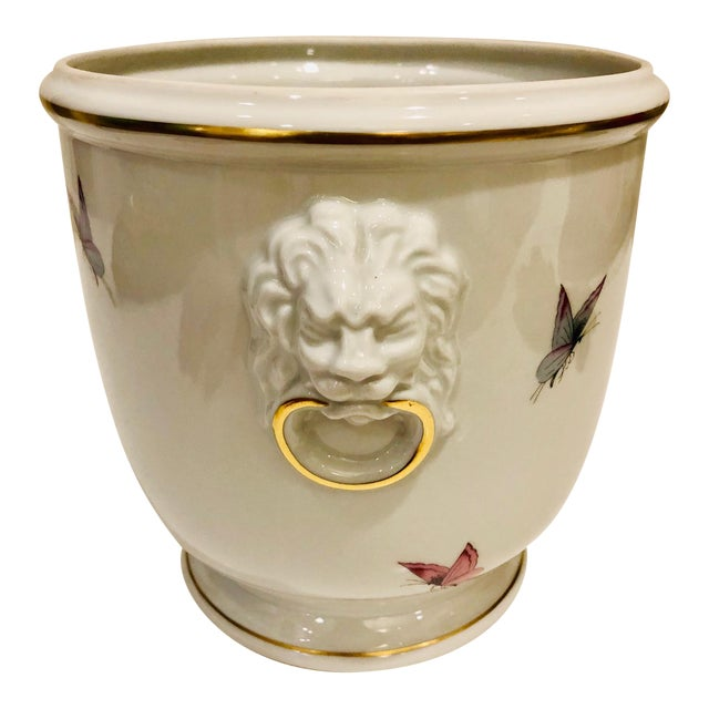 1930s Limoges Butterflies and Lion's Head Cachepot For Sale