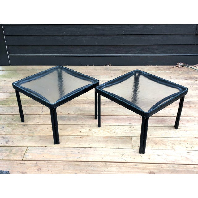 Pair of matching Brown Jordan Tamiami Side tables circa 1960s. Very good condition overall. Original glass tops. Nice...