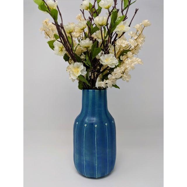 Jonathan Adler Jonathan Adler Inspired Handmade Mid-Century Modern Stripped and Dotted Blue Vase For Sale - Image 4 of 12