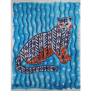 Abstract African Inspired Leopard Painting by Cleo Plowden For Sale