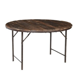"""Salvaged Round Folding Table 48"""" For Sale"""