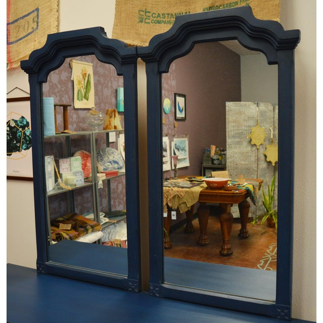 Mirrored 8-Drawer Navy Blue Dresser - Image 10 of 11