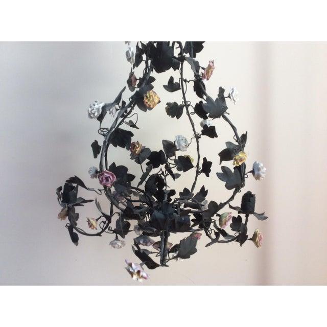 Tole & Porcelain Flower Candle Chandelier - Image 7 of 10