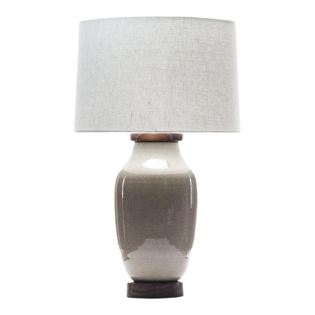 Lawrence & Scott Lagom Porcelain Lamp in Oyster Gray Crackle With Walnut Base For Sale